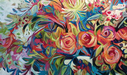 decorative very colourful art piece featuring flowers