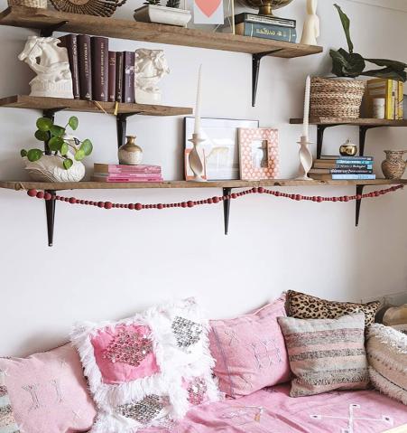 feminine home decor with knicks and knacks on shelves