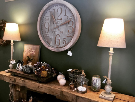 clock and home decor for sale set up mantle living room style