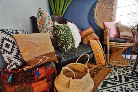 variety of home decor in a corner of a store with various colours