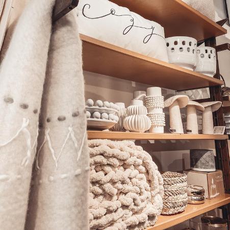 beige modern home decor in a store on shelf