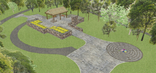 3d rendering of walkway featuring gazebo and large patio area surrounded by grass