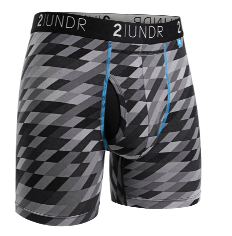 pair of mens boxer briefs with checkered grey and black pattern throughout with blue stitching