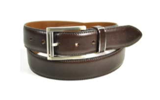 mens brown leather belt in a coil on display with belt buckle facing camera