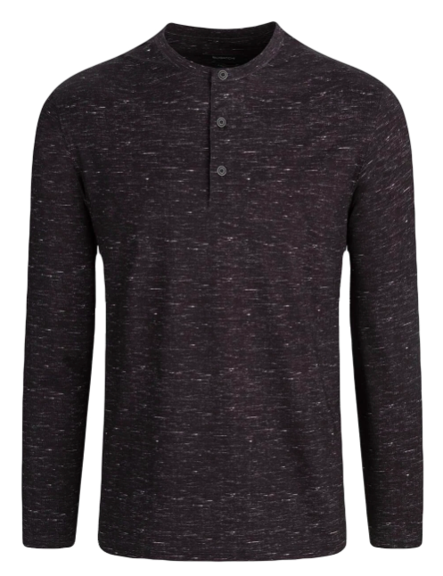 mens long sleeve dark grey henley tee with three buttons at the top and white speckles throughout