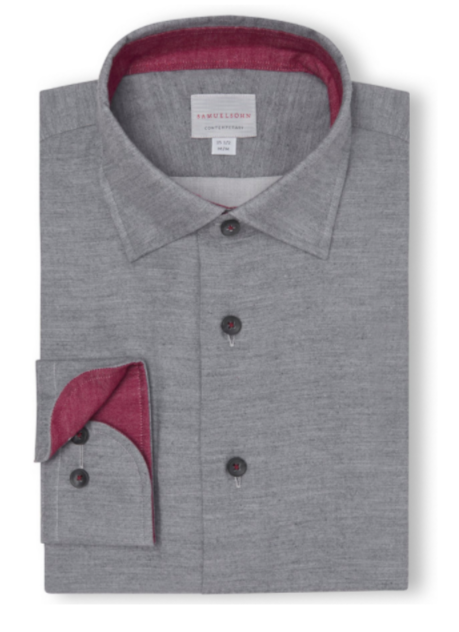 mens light grey dress shirt with magenta colouring on interior of sleeves and collar with buttons going all the way down