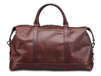 mens brown leather carry on bag with smaller strap at the top and longer shoulder strap at the side against a white background