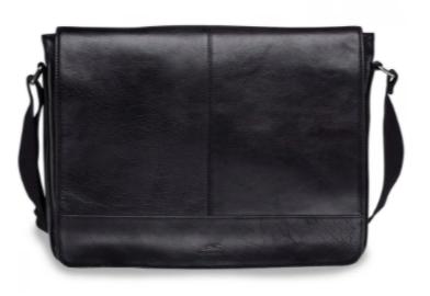 mens black leather laptop bag with large shoulder strap to the sides
