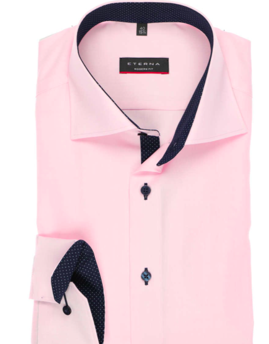 mens pink collared dress shirt with black inseam and black buttons only displaying breast portion of the shirt