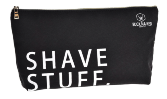 small black shaving kit bag with one zipper at the top