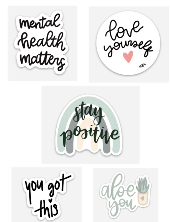 set of positive message stickers with different sayings and graphics