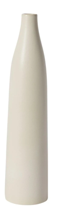 tall and skinny white clay vase that gets smaller towards the top