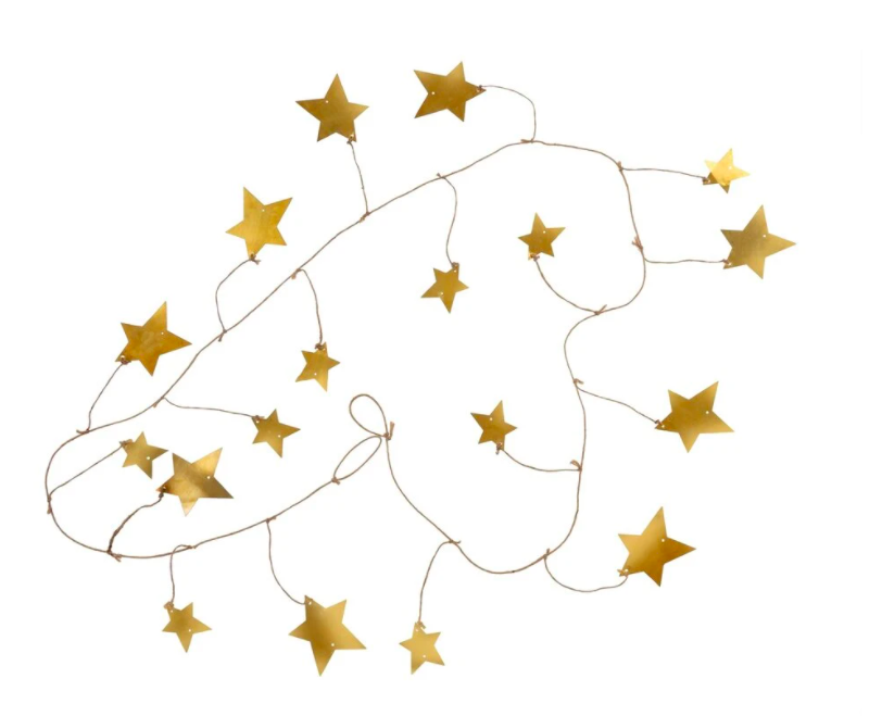 set of string garland with different sized stars throughout