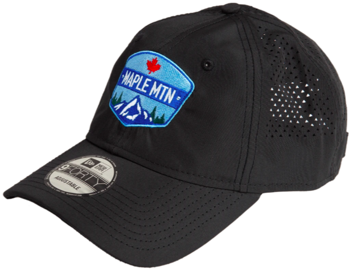 black ball cap with small holes for ventilation and branding in blue on the front of the hat