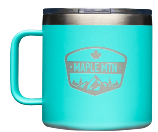 large coffee mug made of stainless steal with branding on the front against a white background