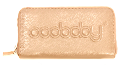 light tan wallet with engraved branding on the front against a white background
