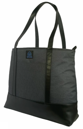 large black tote bag with two mid sized straps sitting upright