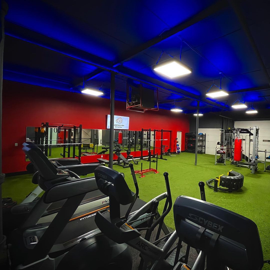 Interior of a gym facility with various pieces of workout equipment with blue lights on the ceiling and astro turf for flooring