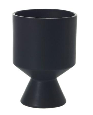 small black planter pot in a unique shape against a white background