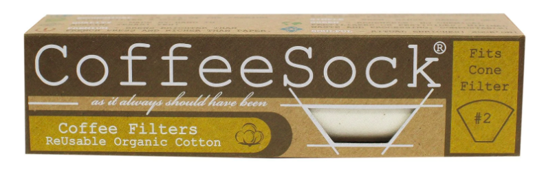long rectangular brown box of cone coffee filters with products details on the box