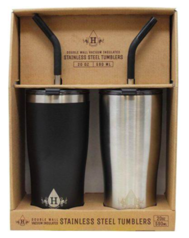 set of two stainless steel mugs with straws inside a box