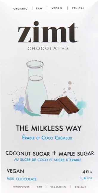 white package of organic chocolate with product details on the front against a white background