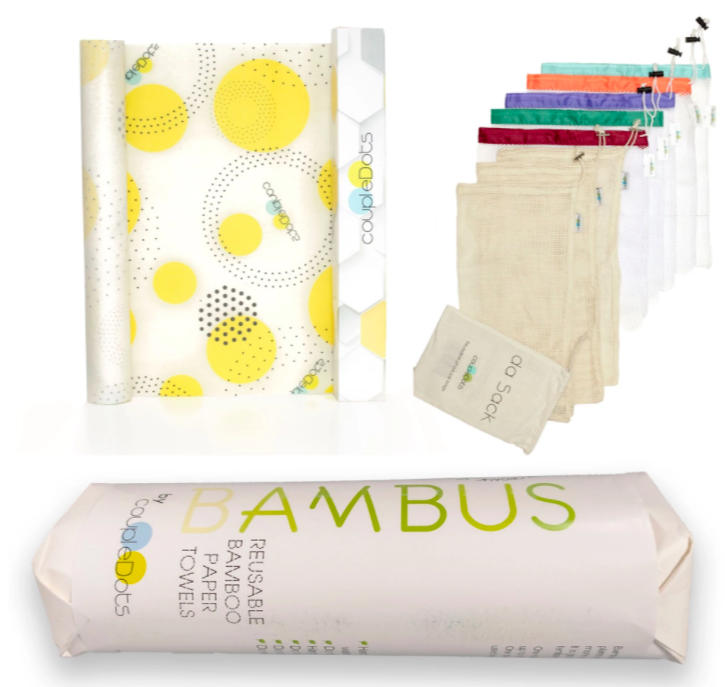 kitchen combo pack with reusable paper towel, food wrap and food storage bags sitting against a white background