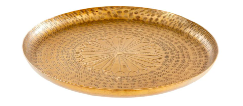 small golden tray with engraved patterned detailing throughout