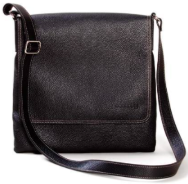 small black side shoulder bag with silver buckles against a white background