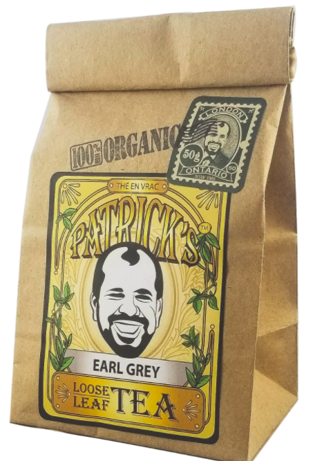 small brown bag of loose leaf tea with product branding and labelling on the front