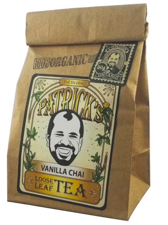 small bag of loose leaf tea with branding on the front against a white background