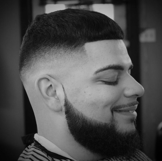 Picture of a haircut from a barber in a studio