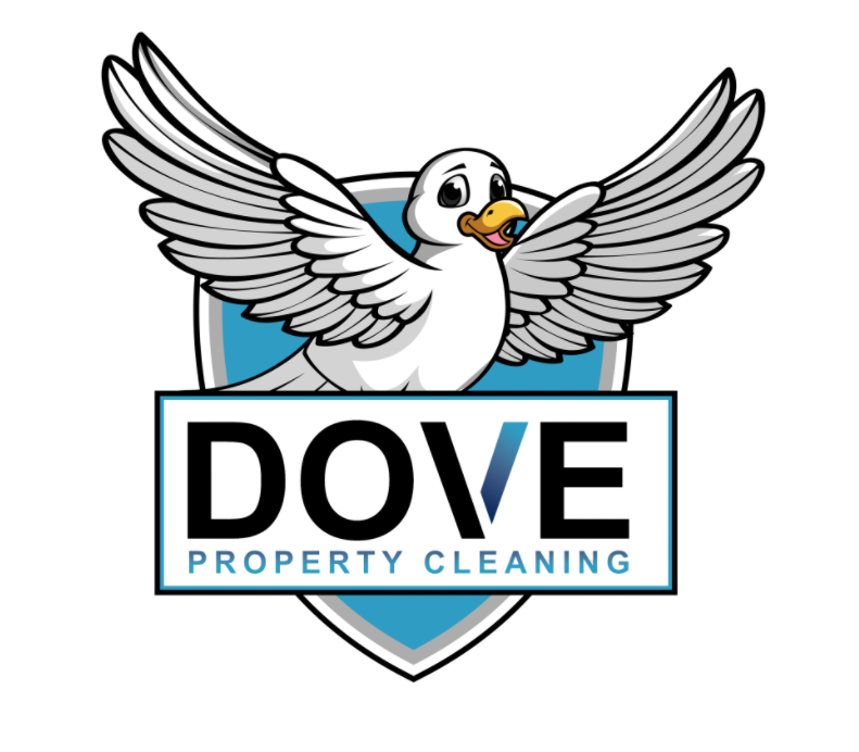 company logo with large dove feature and blue details