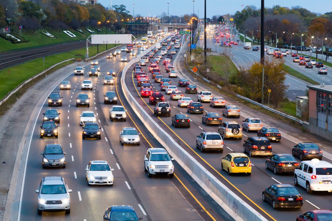 Toronto, Canada - November 11, 2014: A view of traffic on the Gardiner Express at rush hour. Many vehicles can be seen in the image.