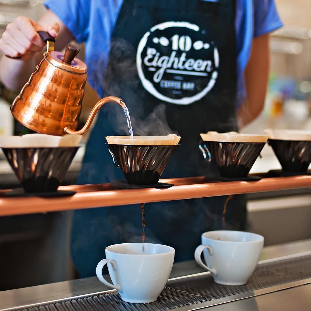 Brewing coffee at 10 Eighteen Coffee Bar
