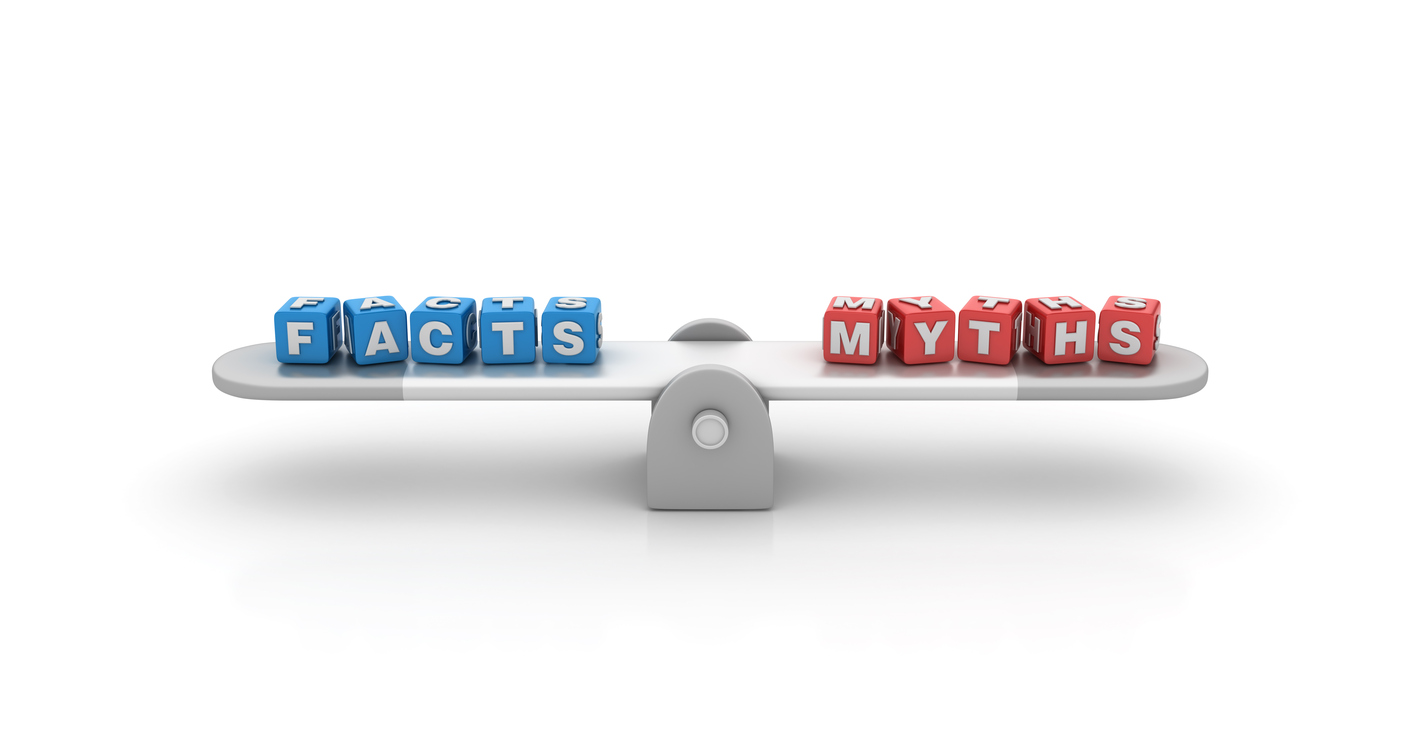 Seesaw with Facts Myths Buzzword Cubes - 3D Rendering