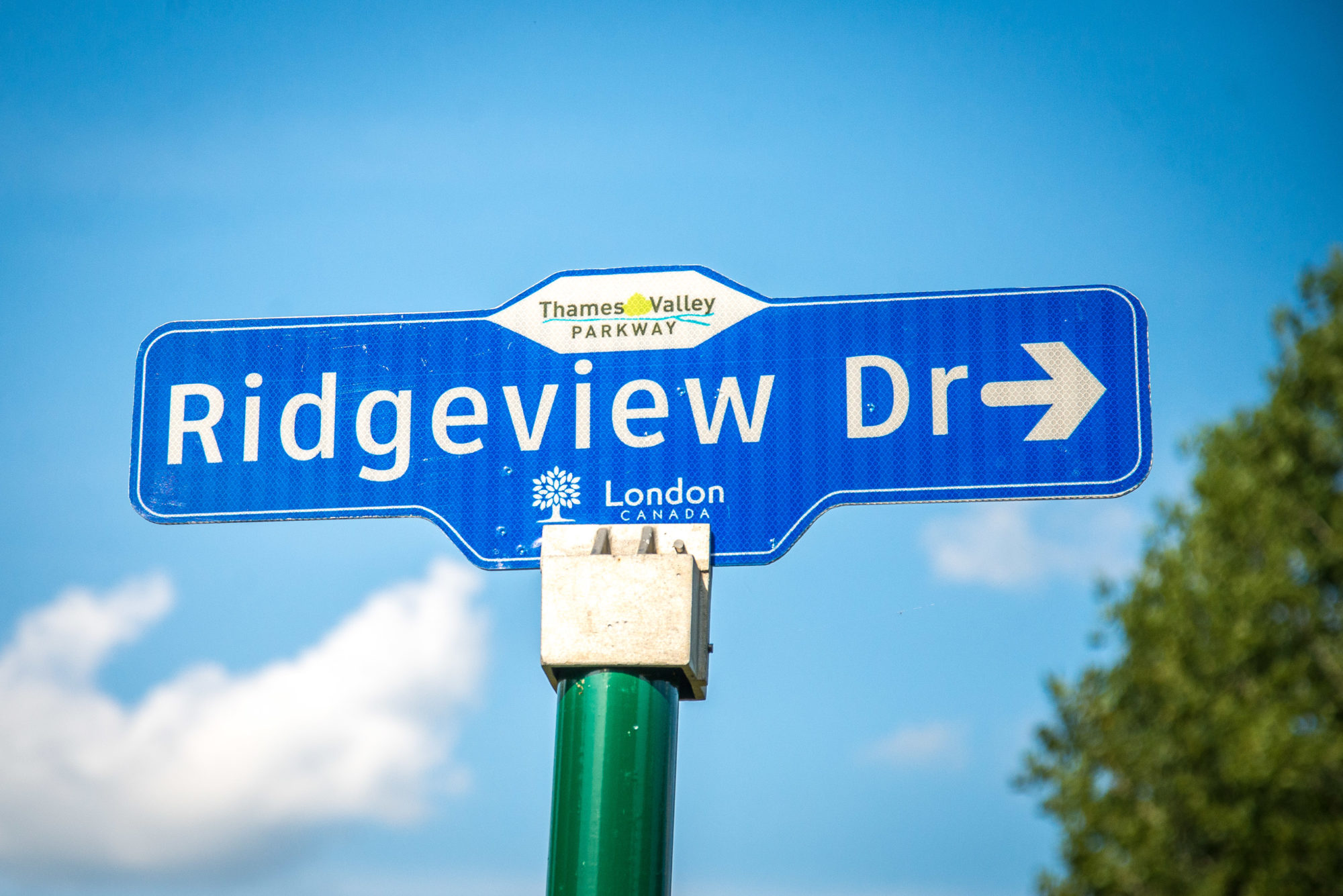 Ridgeview Drive street sign in Carling Heights