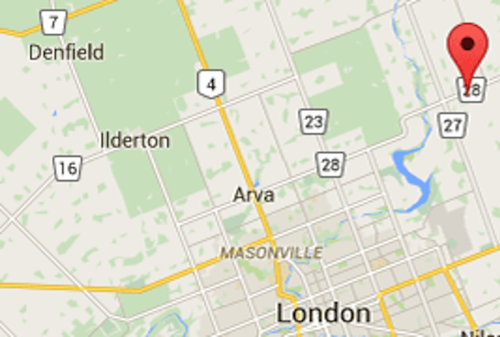 Map of Thorndales Location compared to London, Ontario