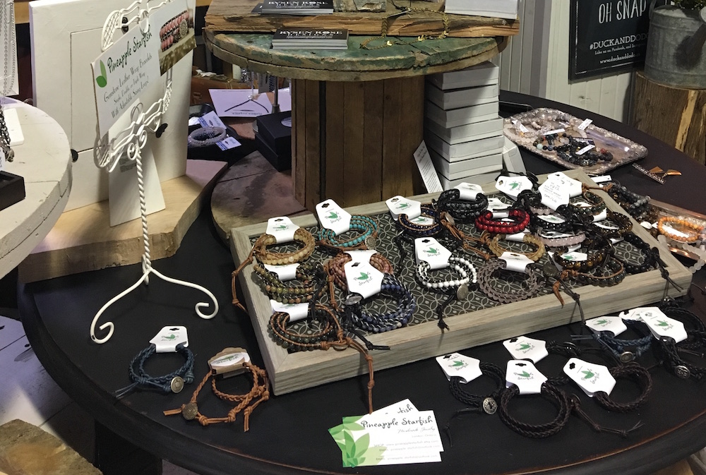 Display of bracelets at the Duck & Dodo by Pineapple Starfish
