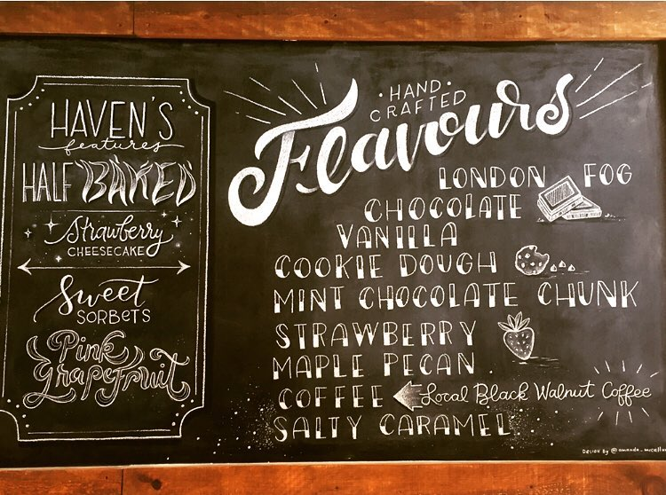 Menu at Haven's Creamery