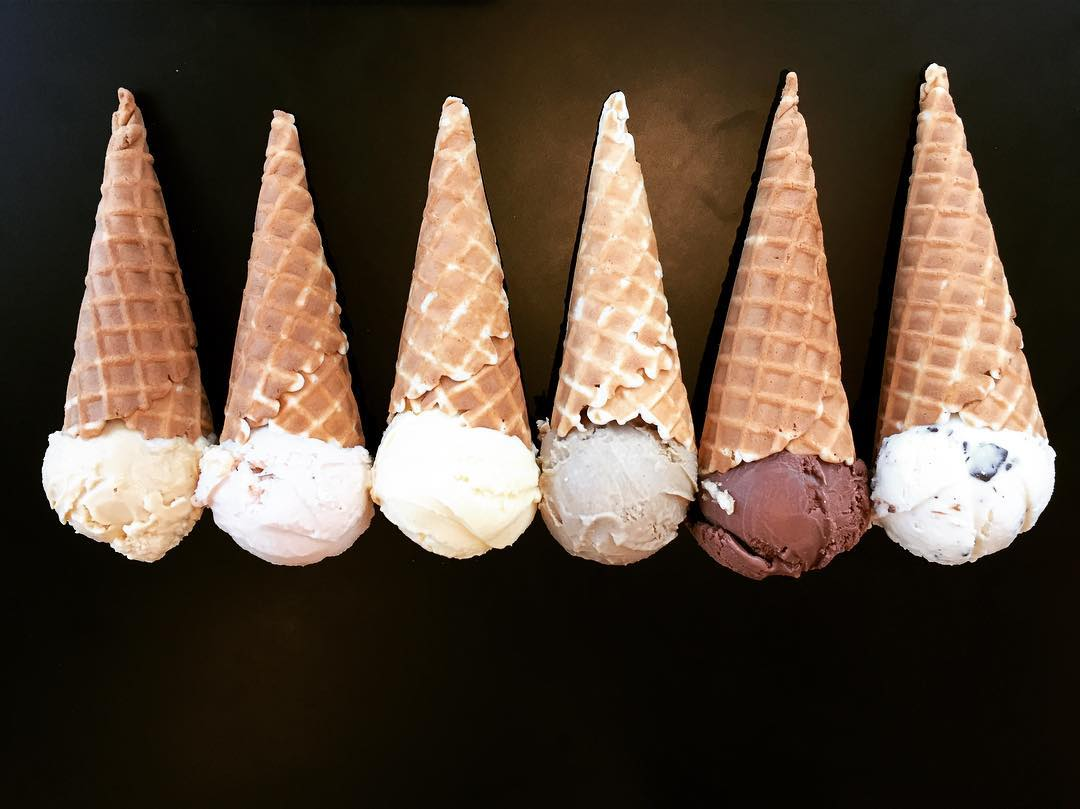 Row of Ice Cream Cones at Haven's Creamery