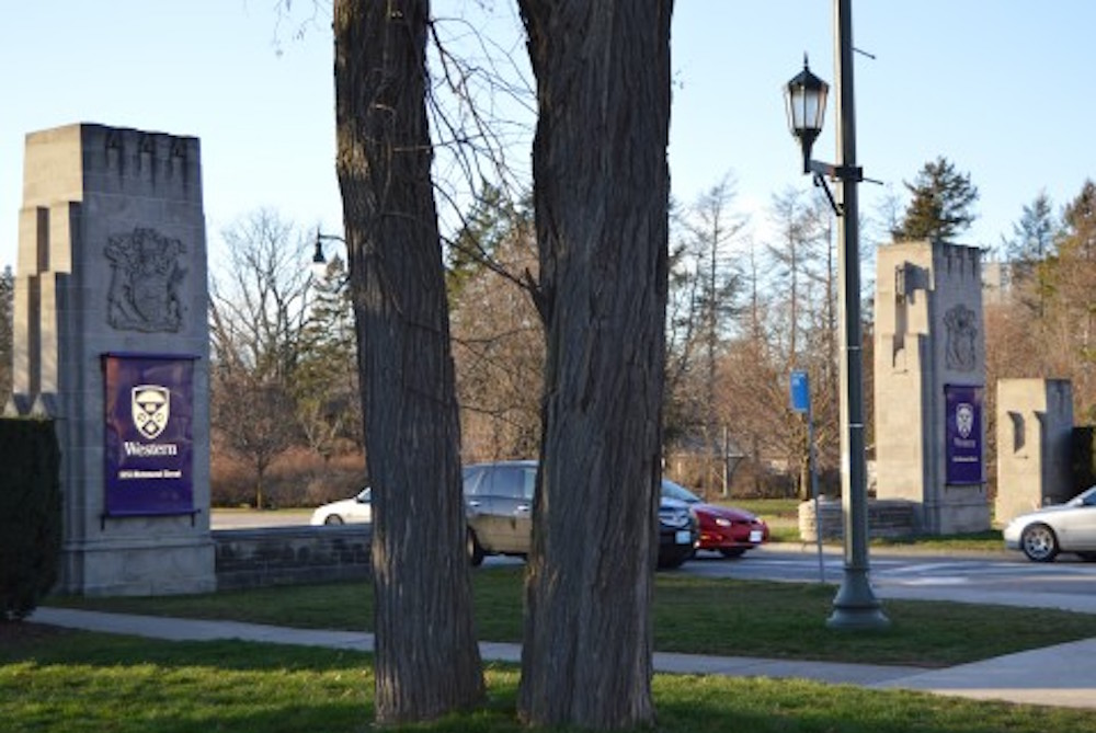 Main Gates of Western University in Old North, London, Ontario