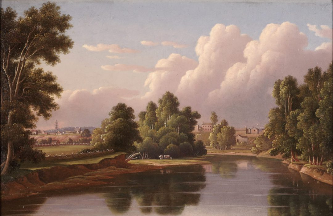 historic painting of pink and blue sky, a river and trees