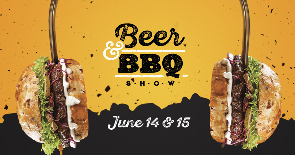event banner with two burgers and orange and black accents