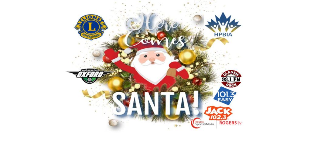 christmas poster featuring santa a wreath and company logos