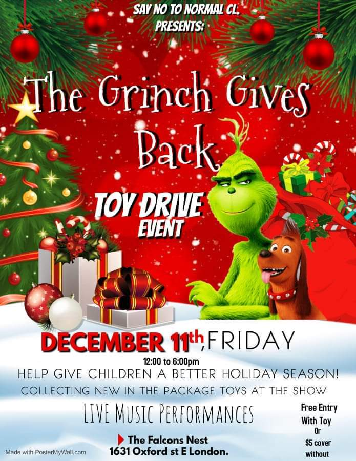 toy drive poster featuring christmas decor the grinch and writing all over