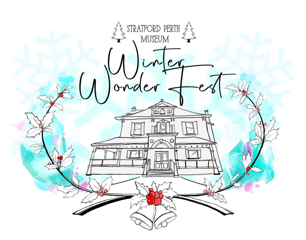 winter poster with blue and white accents with writing